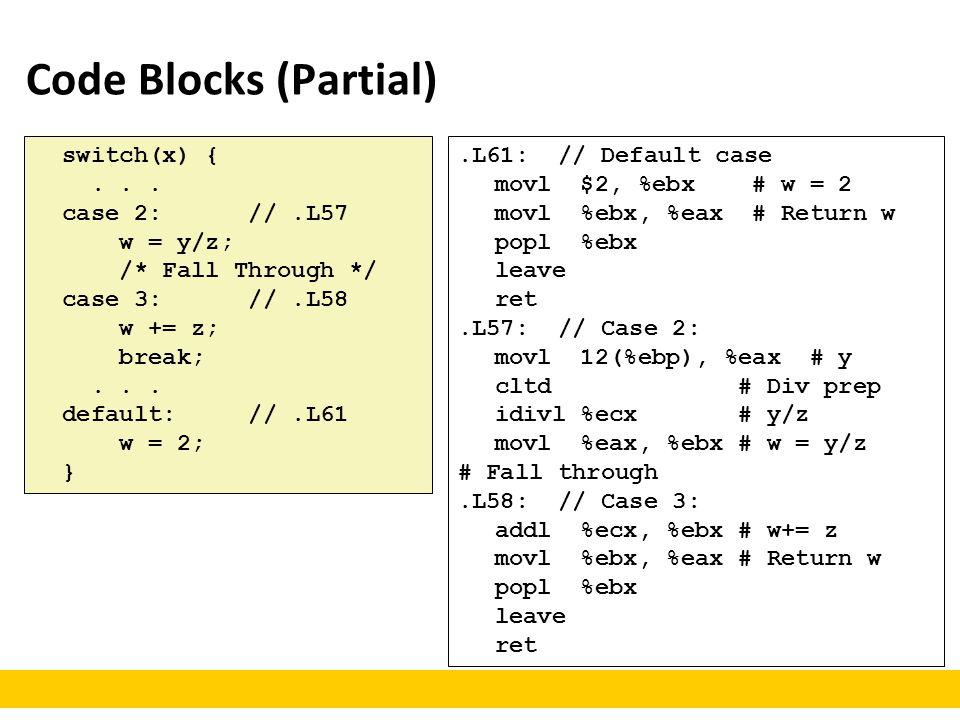 Code Blocks (Partial).L61: // Default case movl $2, %ebx # w = 2 movl %ebx, %eax # Return w popl %ebx leave ret.L57: // Case 2: movl 12(%ebp), %eax #