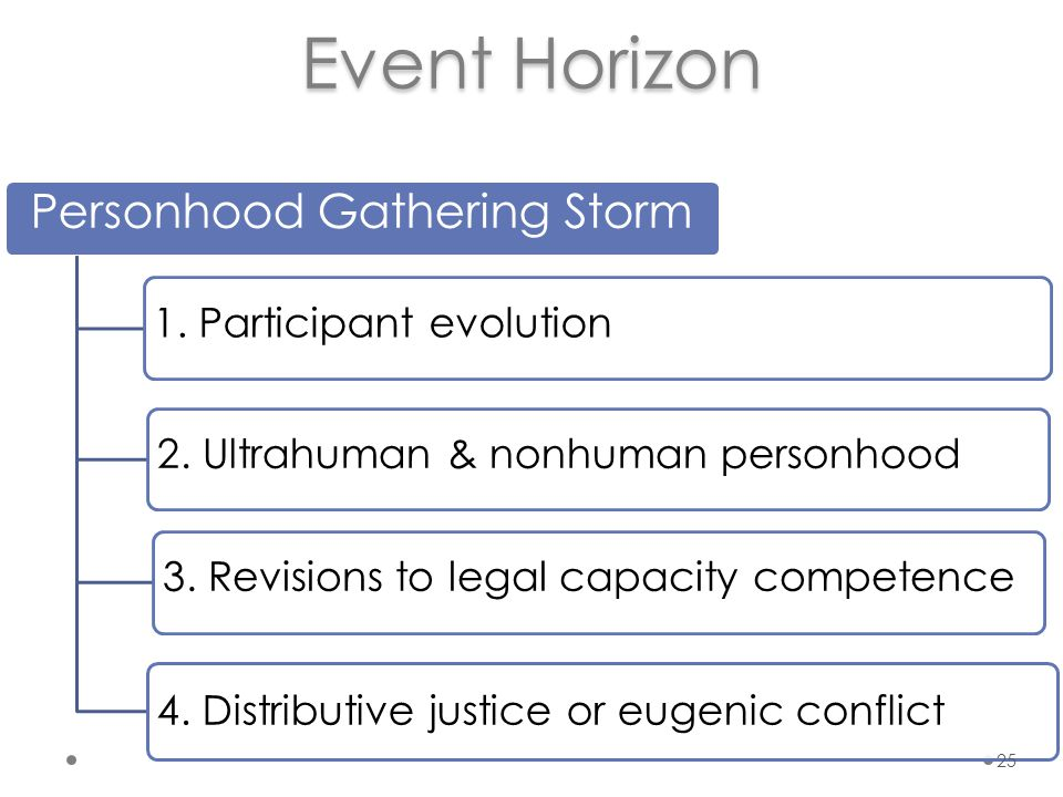 Event Horizon Personhood Gathering Storm 3. Revisions to legal capacity competence 2.