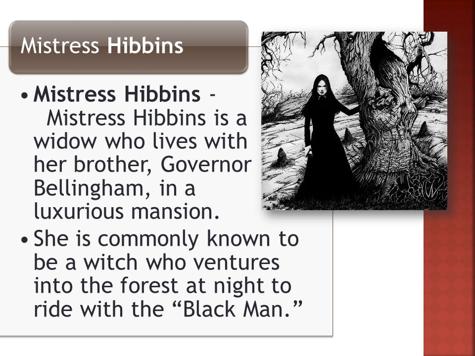 Mistress Hibbins - Mistress Hibbins is a widow who lives with her brother, Governor Bellingham, in a luxurious mansion.