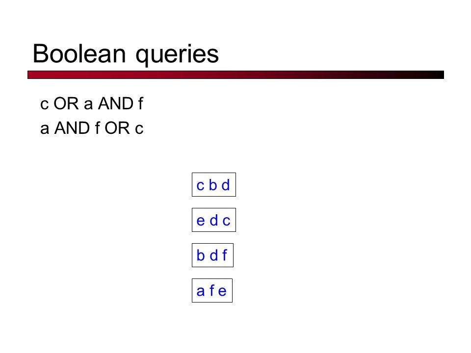 Boolean queries c OR a AND f a AND f OR c c b d e d c b d f a f e