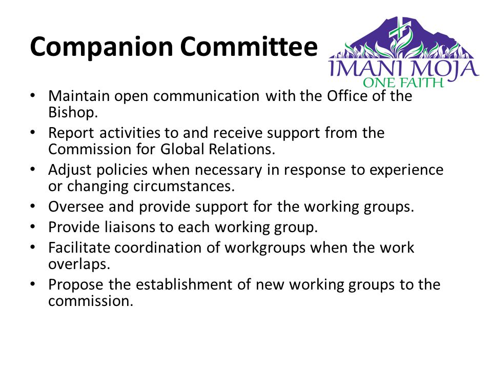 Companion Committee Maintain open communication with the Office of the Bishop.