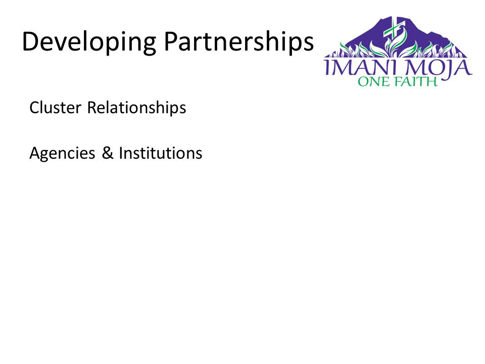 Developing Partnerships Cluster Relationships Agencies & Institutions