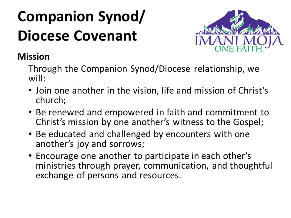 Mission Through the Companion Synod/Diocese relationship, we will: Join one another in the vision, life and mission of Christ's church; Be renewed and empowered in faith and commitment to Christ's mission by one another's witness to the Gospel; Be educated and challenged by encounters with one another's joy and sorrows; Encourage one another to participate in each other's ministries through prayer, communication, and thoughtful exchange of persons and resources.