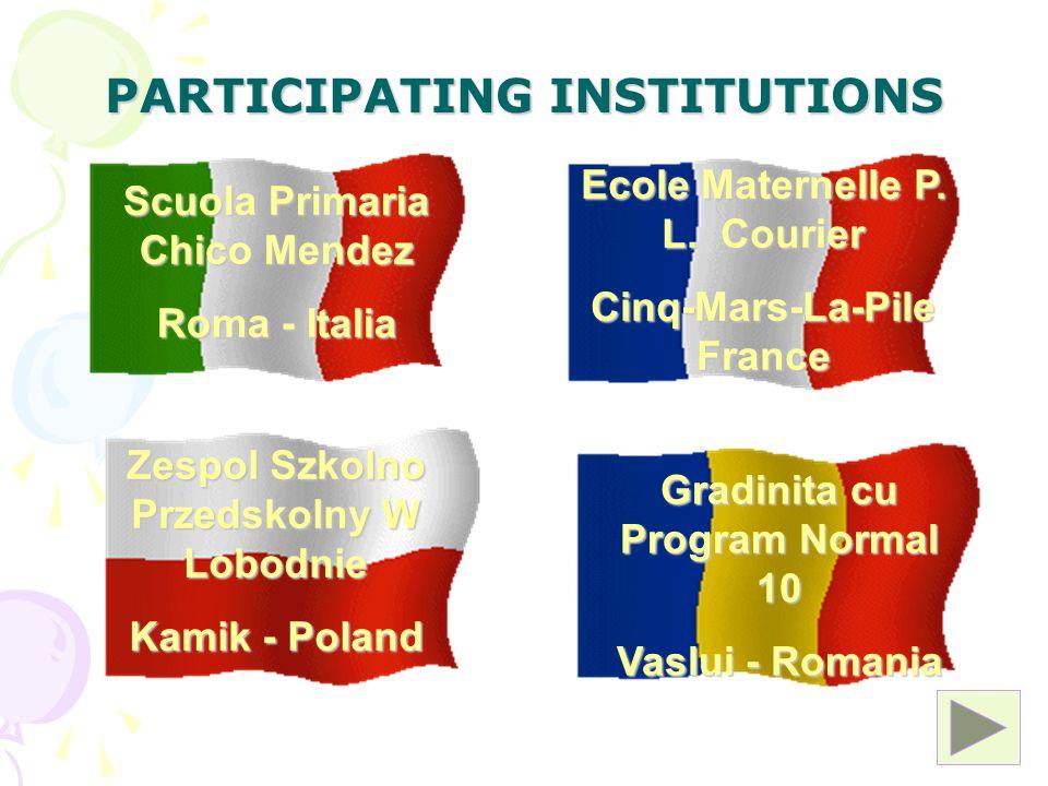 PARTICIPATING INSTITUTIONS Scuola Primaria Chico Mendez Roma - Italia Ecole Maternelle P.
