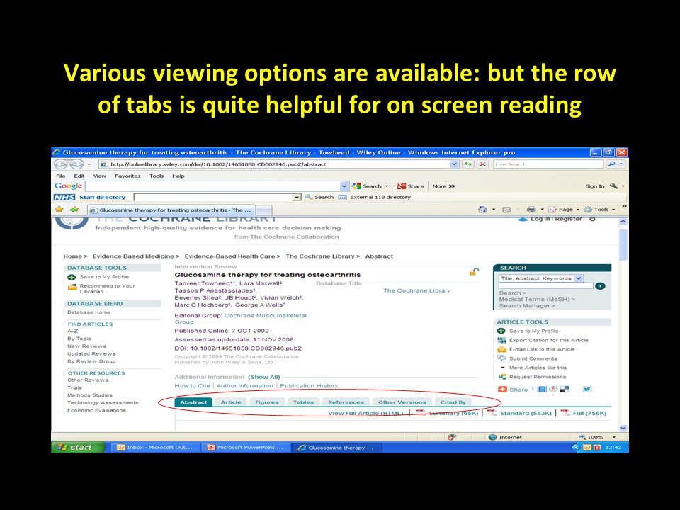Various viewing options are available: but the row of tabs is quite helpful for on screen reading