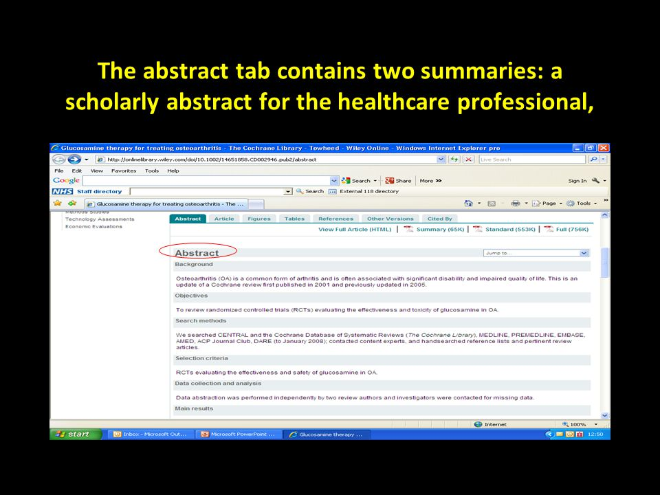 The abstract tab contains two summaries: a scholarly abstract for the healthcare professional,