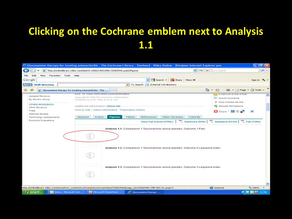 Clicking on the Cochrane emblem next to Analysis 1.1