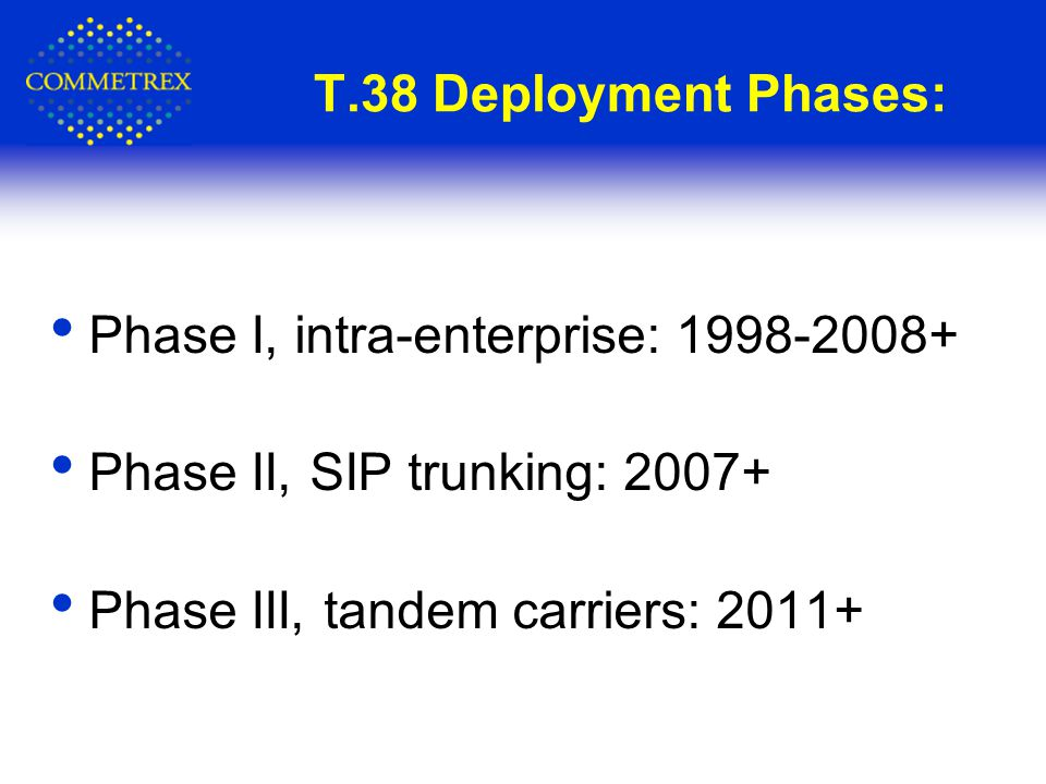 T.38 Deployment Phases: Phase I, intra-enterprise: 1998-2008+ Phase II, SIP trunking: 2007+ Phase III, tandem carriers: 2011+