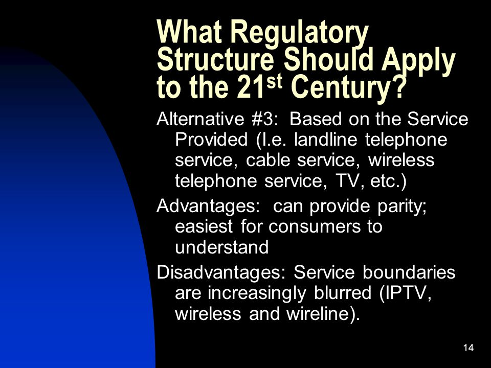 14 What Regulatory Structure Should Apply to the 21 st Century.
