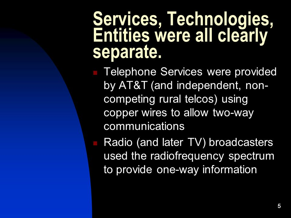5 Services, Technologies, Entities were all clearly separate.