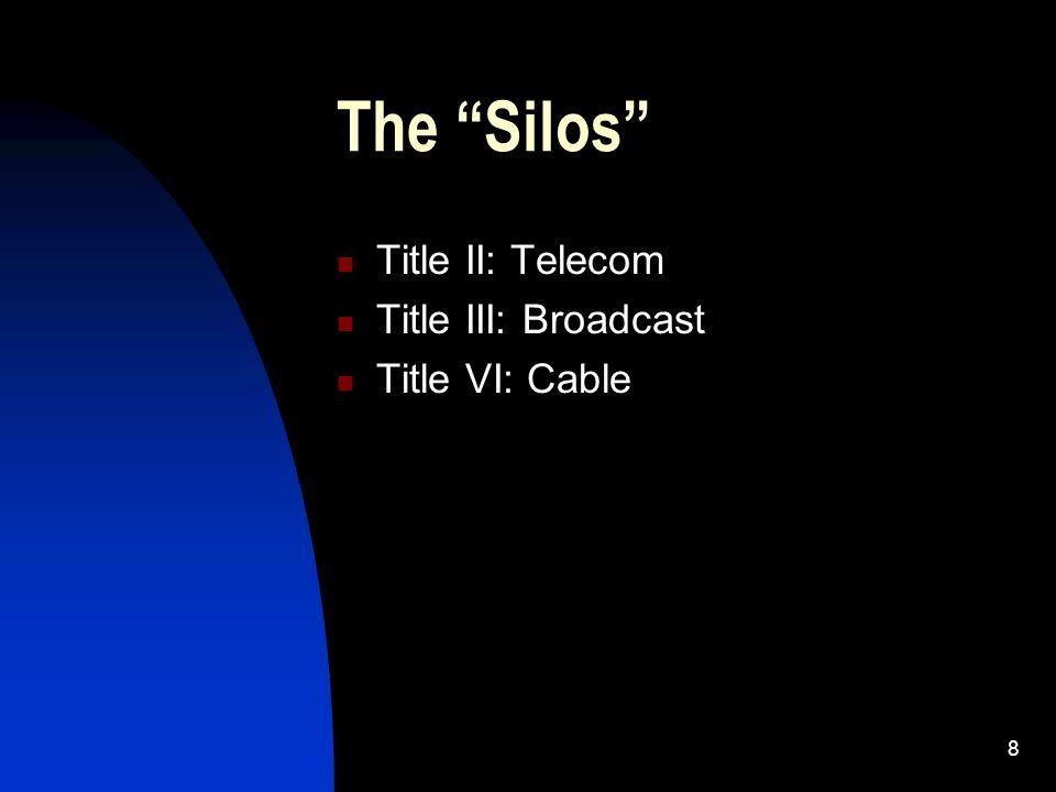 8 The Silos Title II: Telecom Title III: Broadcast Title VI: Cable