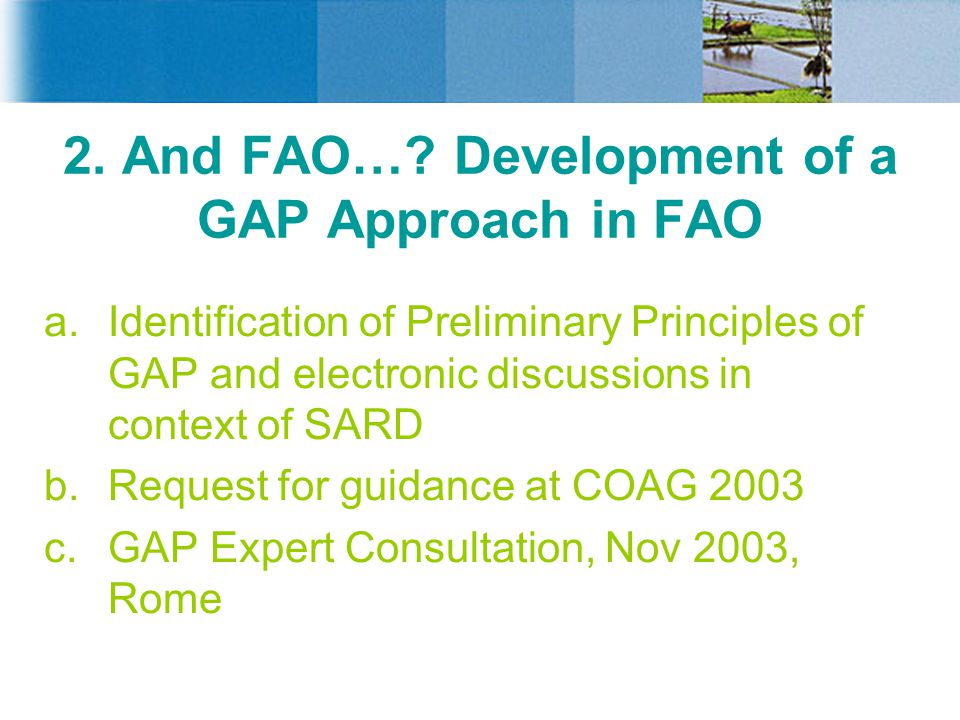 2. And FAO…? Development of a GAP Approach in FAO a.Identification of Preliminary Principles of GAP and electronic discussions in context of SARD b.Re