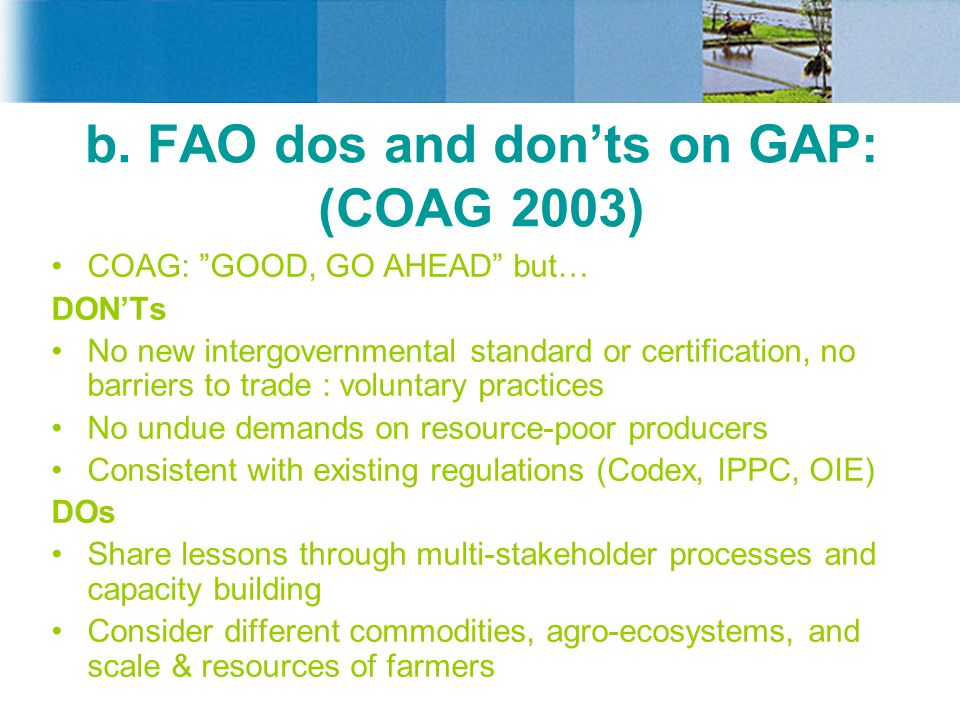 """b. FAO dos and don'ts on GAP: (COAG 2003) COAG: """"GOOD, GO AHEAD"""" but… DON'Ts No new intergovernmental standard or certification, no barriers to trade"""