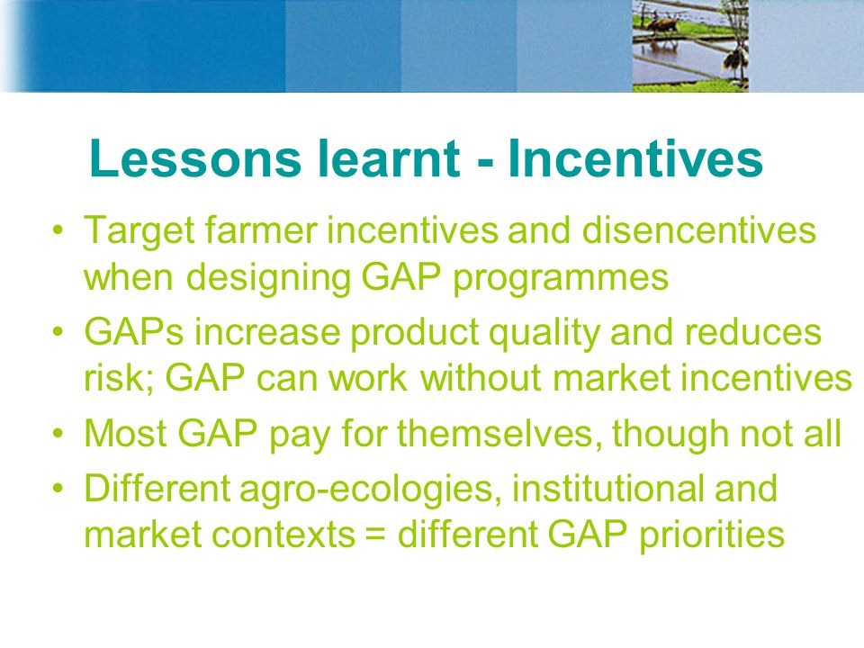 Lessons learnt - Incentives Target farmer incentives and disencentives when designing GAP programmes GAPs increase product quality and reduces risk; GAP can work without market incentives Most GAP pay for themselves, though not all Different agro-ecologies, institutional and market contexts = different GAP priorities