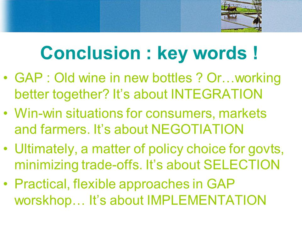 Conclusion : key words .GAP : Old wine in new bottles .