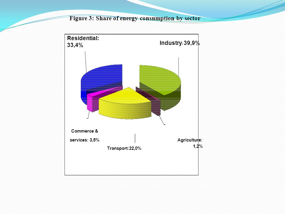 Commerce & services: 3,5% Agriculture : Transport:22,0% 1,2% Figure 3: Share of energy consumption by sector Industry : 39,9% Residential: 33,4% Commerce & services: 3,5%Agriculture: Transport:22,0% 1,2%
