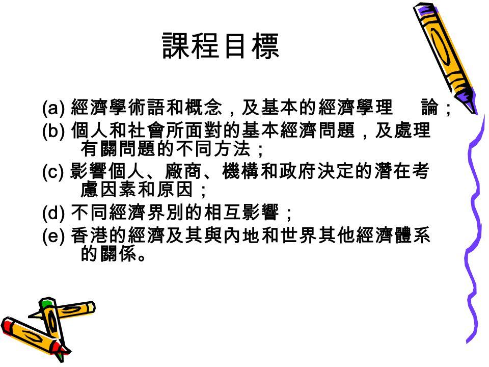 課程目標 (a) 經濟學術語和概念,及基本的經濟學理 論; (b) 個人和社會所面對的基本經濟問題,及處理 有關問題的不同方法; (c) 影響個人、廠商、機構和政府決定的潛在考 慮因素和原因; (d) 不同經濟界別的相互影響; (e) 香港的經濟及其與內地和世界其他經濟體系 的關係。