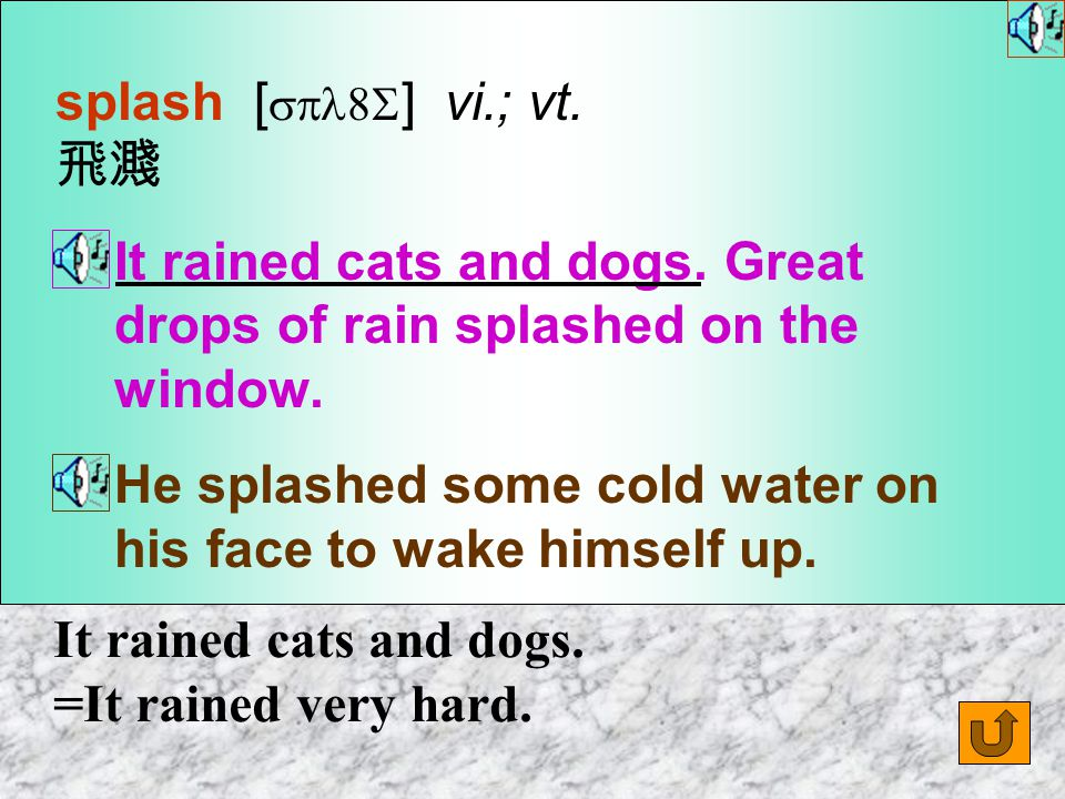 Words for Production 7. splash [ spl8S ] n. [C] an act or sound of water flying about in drops 水飛濺 ( 聲 ) The swimmer jumped into the water with a loud