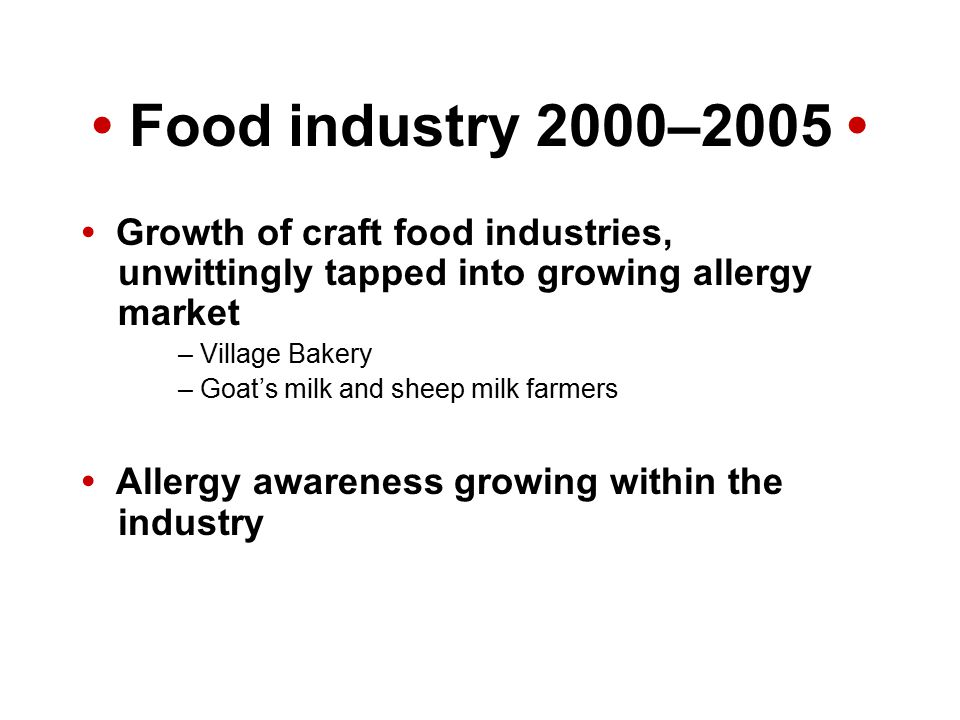 Food industry 2000–2005 Growth of craft food industries, unwittingly tapped into growing allergy market – Village Bakery – Goat's milk and sheep milk