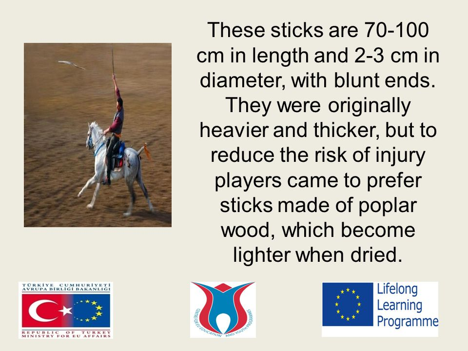 These sticks are 70-100 cm in length and 2-3 cm in diameter, with blunt ends.