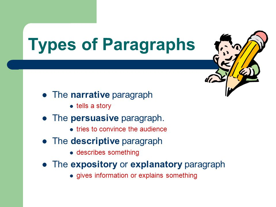Types of Paragraphs The narrative paragraph tells a story The persuasive paragraph.