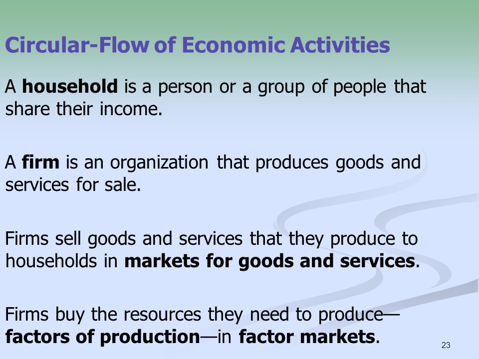 23 Circular-Flow of Economic Activities A household is a person or a group of people that share their income.