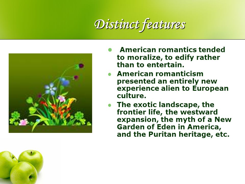 Distinct features American romantics tended to moralize, to edify rather than to entertain. American romanticism presented an entirely new experience
