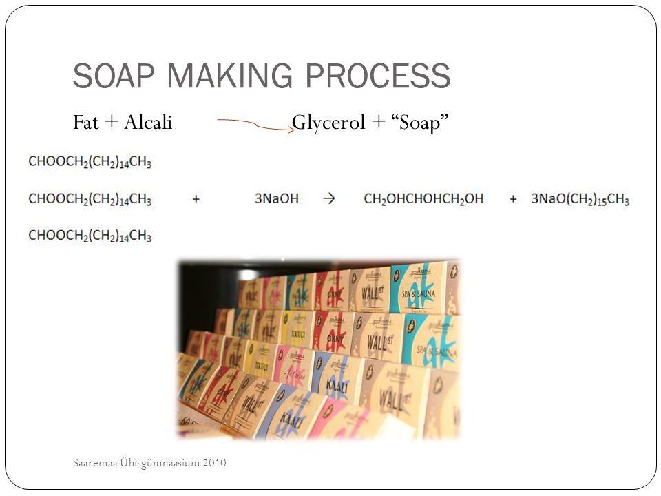 SOAP MAKING PROCESS Saaremaa Ühisgümnaasium 2010 Fat + Alcali Glycerol + Soap