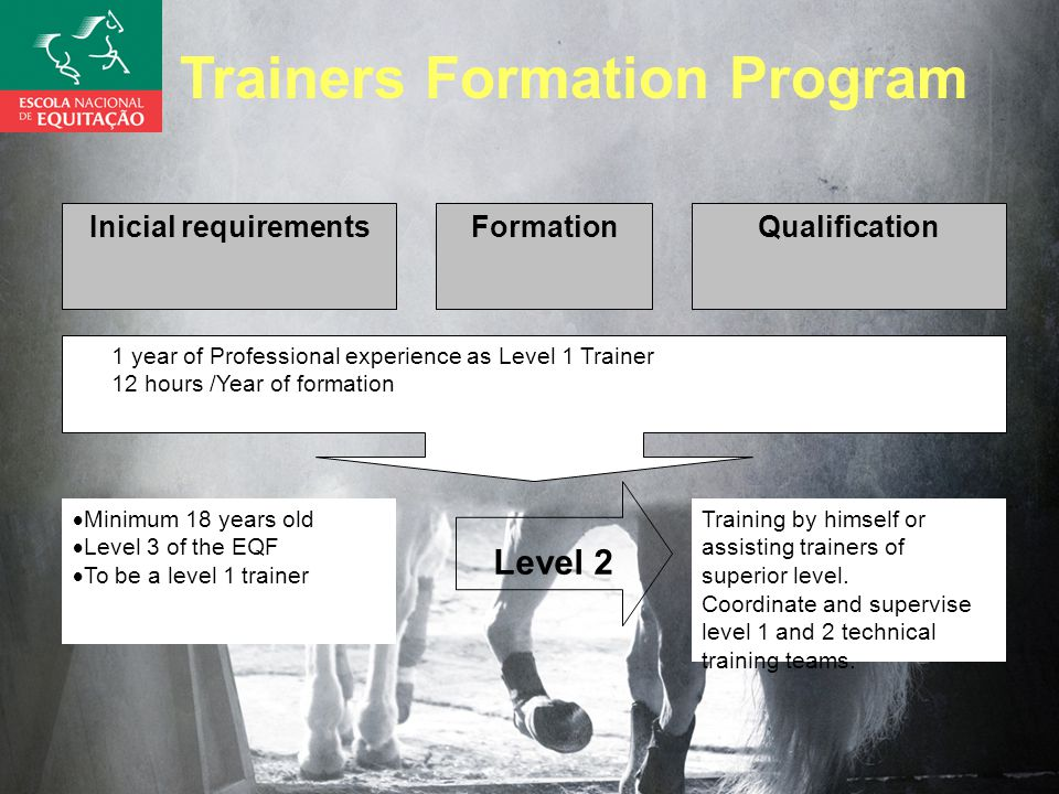 Inicial requirementsFormationQualification 1 year of Professional experience as Level 1 Trainer 12 hours /Year of formation  Minimum 18 years old  Level 3 of the EQF  To be a level 1 trainer Training by himself or assisting trainers of superior level.