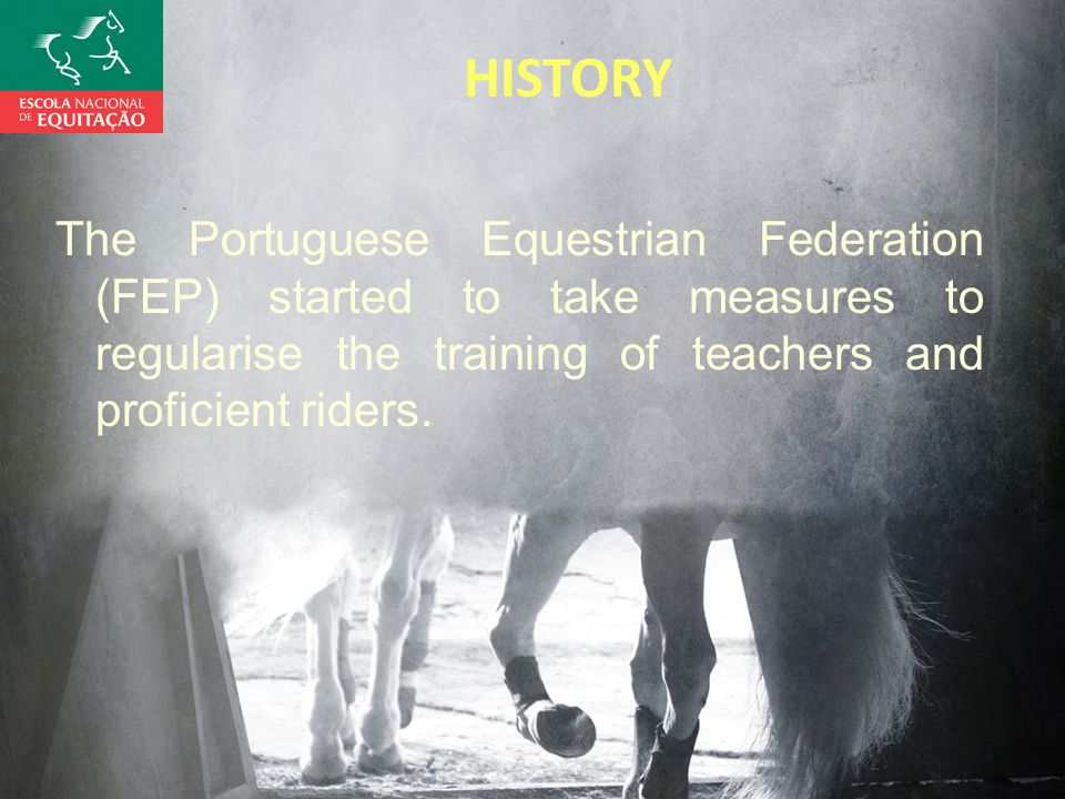 HISTORY The Portuguese Equestrian Federation (FEP) started to take measures to regularise the training of teachers and proficient riders.