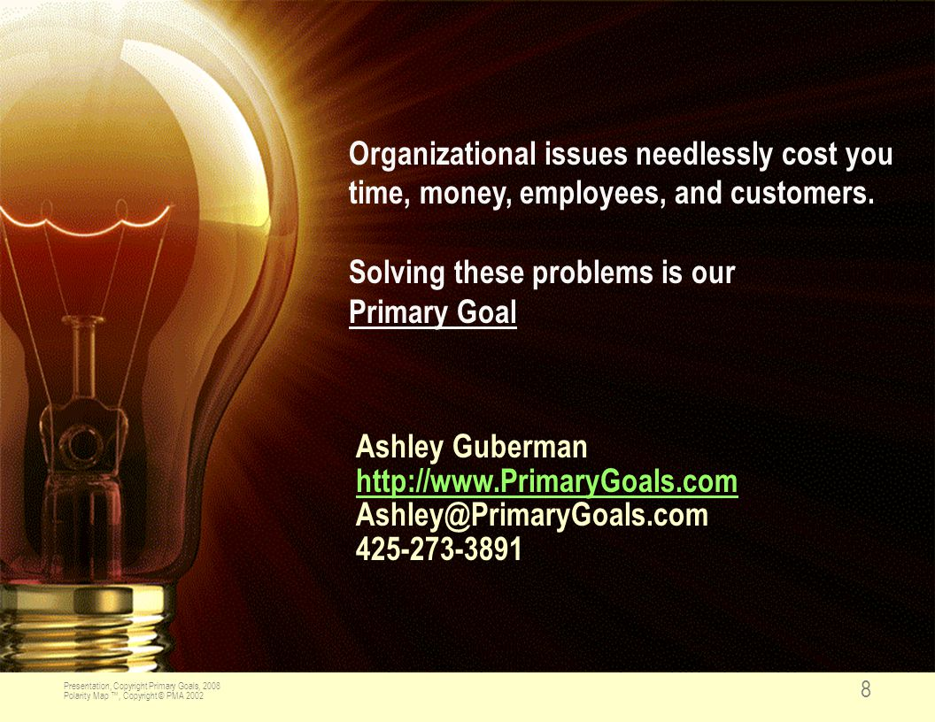 Presentation, Copyright Primary Goals, 2008 Polarity Map ™, Copyright © PMA 2002 8 Organizational issues needlessly cost you time, money, employees, and customers.