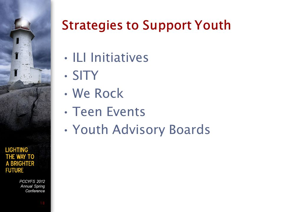 PCCYFS 2012 Annual Spring Conference 18 Strategies to Support Youth ILI Initiatives SITY We Rock Teen Events Youth Advisory Boards