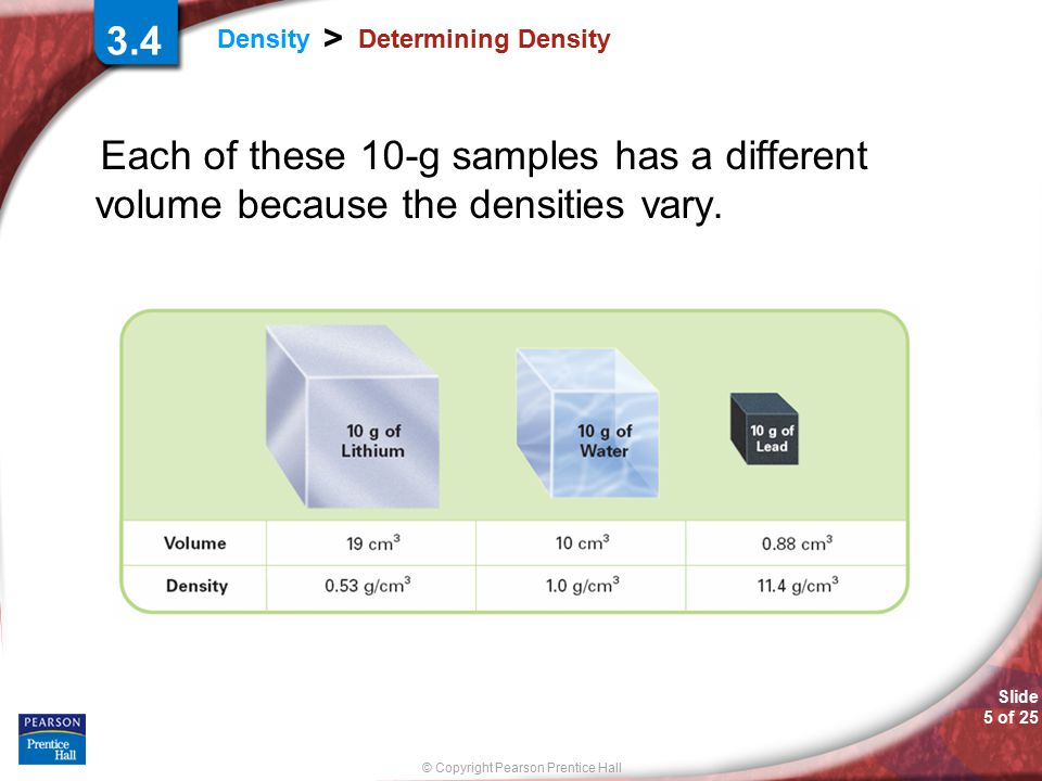© Copyright Pearson Prentice Hall Slide 5 of 25 Density > Determining Density Each of these 10-g samples has a different volume because the densities vary.