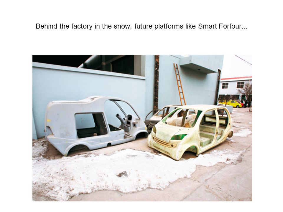 Behind the factory in the snow, future platforms like Smart Forfour...