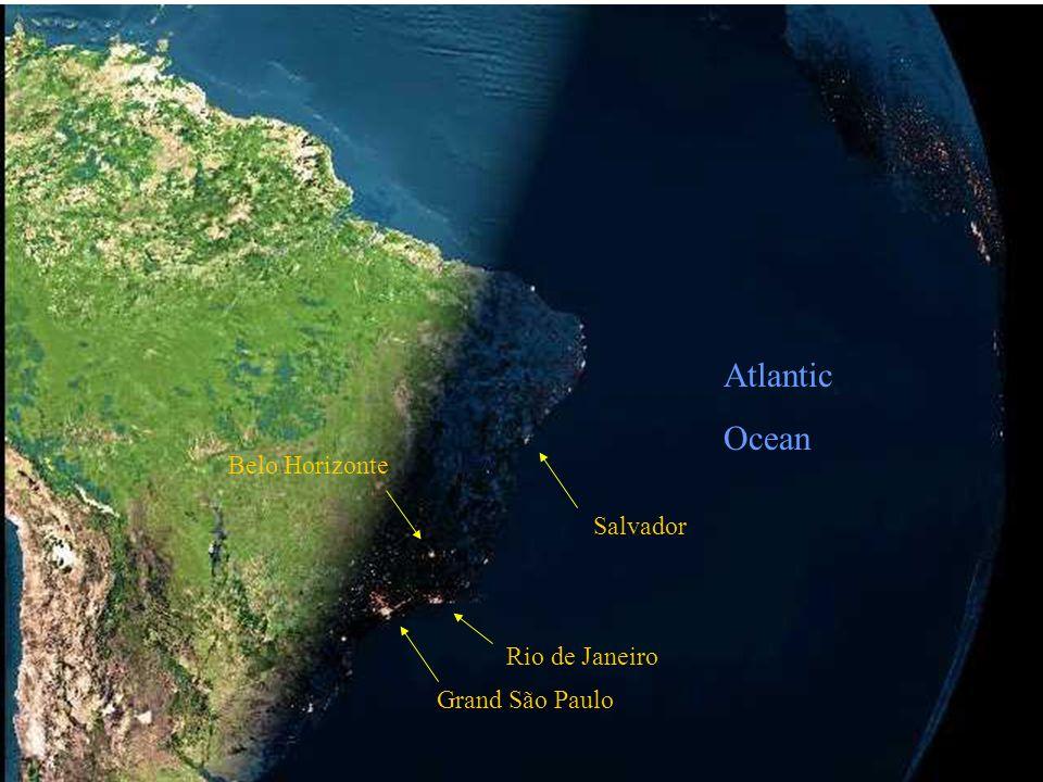 The next photo, taken by a satellite shows nightime falling on Brazil.