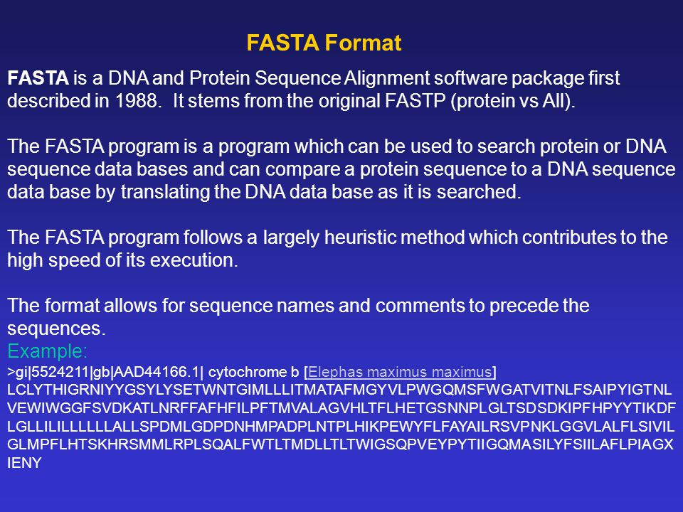 FASTA is a DNA and Protein Sequence Alignment software package first described in 1988.
