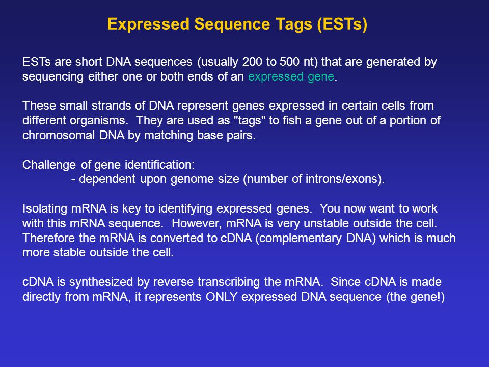 Expressed Sequence Tags (ESTs) ESTs are short DNA sequences (usually 200 to 500 nt) that are generated by sequencing either one or both ends of an expressed gene.