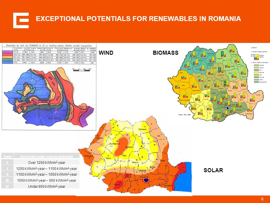 6 EXCEPTIONAL POTENTIALS FOR RENEWABLES IN ROMANIA WIND SOLAR BIOMASS ZoneRecorded solar energy potential 0Over 1250 kWh/m 2 -year I1250 kWh/m 2 -year – 1150 kWh/m 2 -year II1150 kWh/m 2 -year – 1050 kWh/m 2 -year III1050 kWh/m 2 -year – 950 kWh/m 2 -year IVUnder 950 kWh/m 2 -year