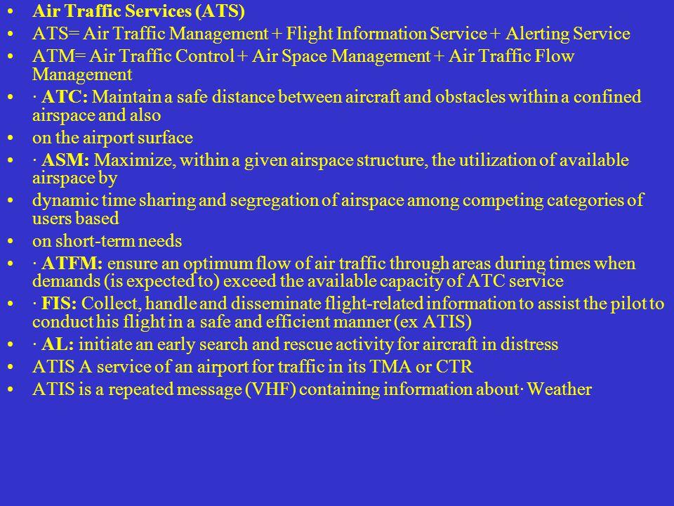 Air Traffic Services (ATS) ATS= Air Traffic Management + Flight Information Service + Alerting Service ATM= Air Traffic Control + Air Space Management