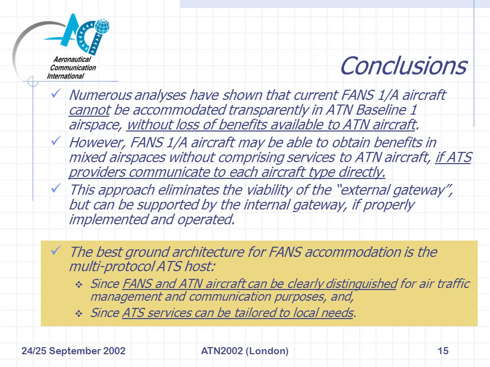 24/25 September 2002ATN2002 (London)15 Conclusions Numerous analyses have shown that current FANS 1/A aircraft cannot be accommodated transparently in