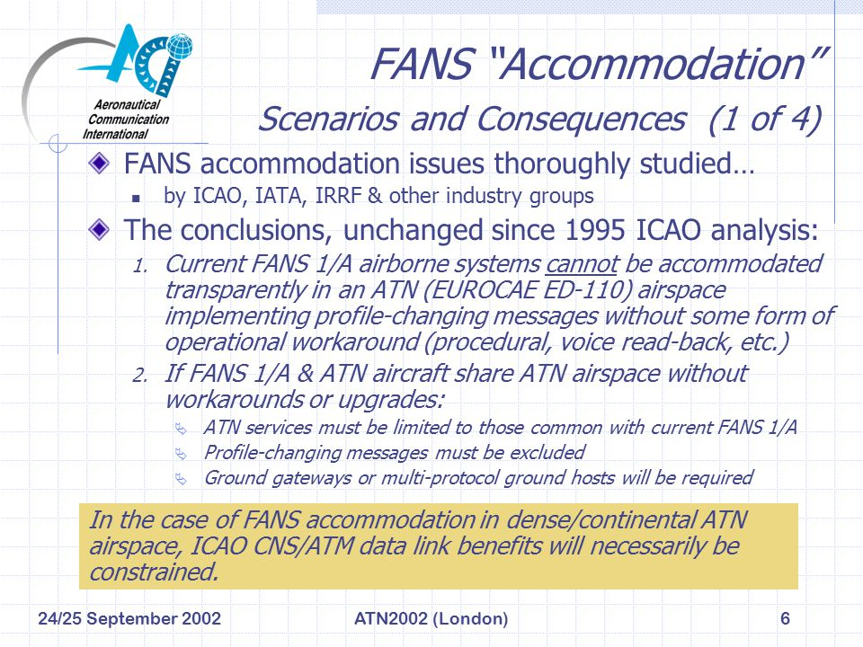 """24/25 September 2002ATN2002 (London)6 FANS """"Accommodation"""" Scenarios and Consequences (1 of 4) FANS accommodation issues thoroughly studied… by ICAO,"""
