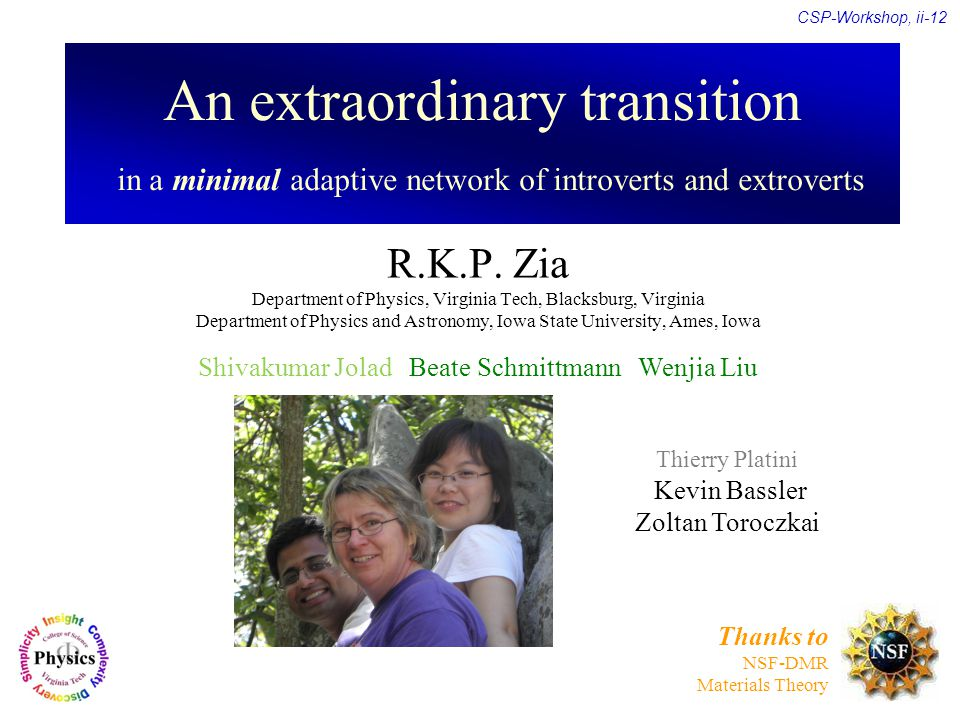 An extraordinary transition in a minimal adaptive network of introverts and extroverts R.K.P.