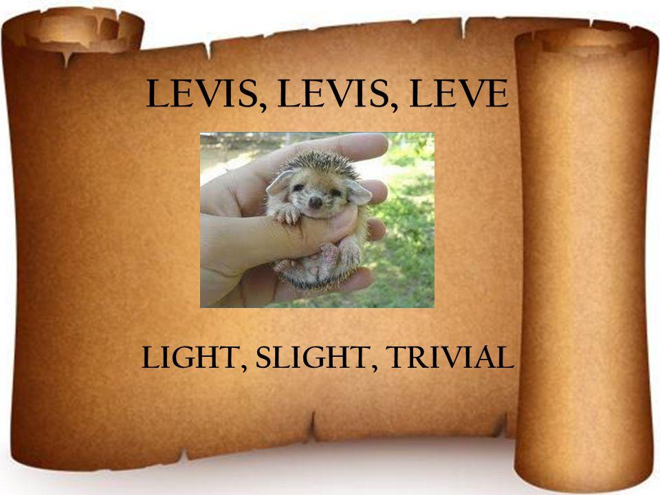 LEVIS, LEVIS, LEVE LIGHT, SLIGHT, TRIVIAL