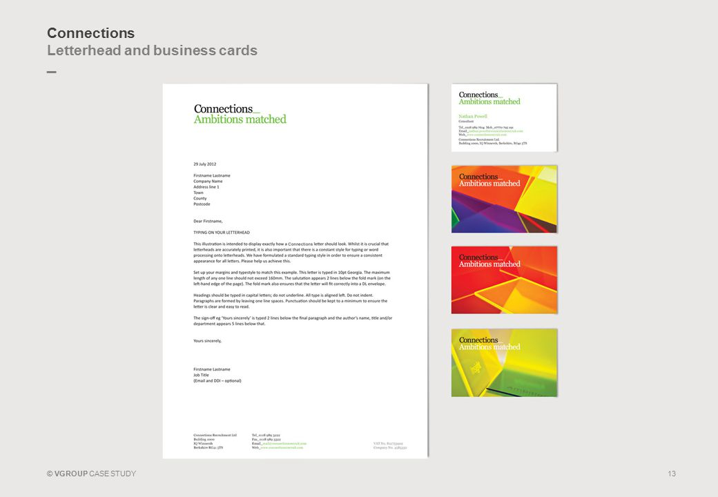 _ © VGROUP CASE STUDY Connections Letterhead and business cards 13