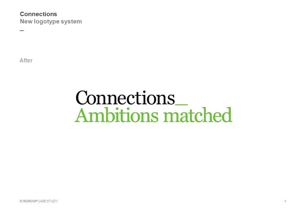 _ © VGROUP CASE STUDY Connections New logotype system After 4
