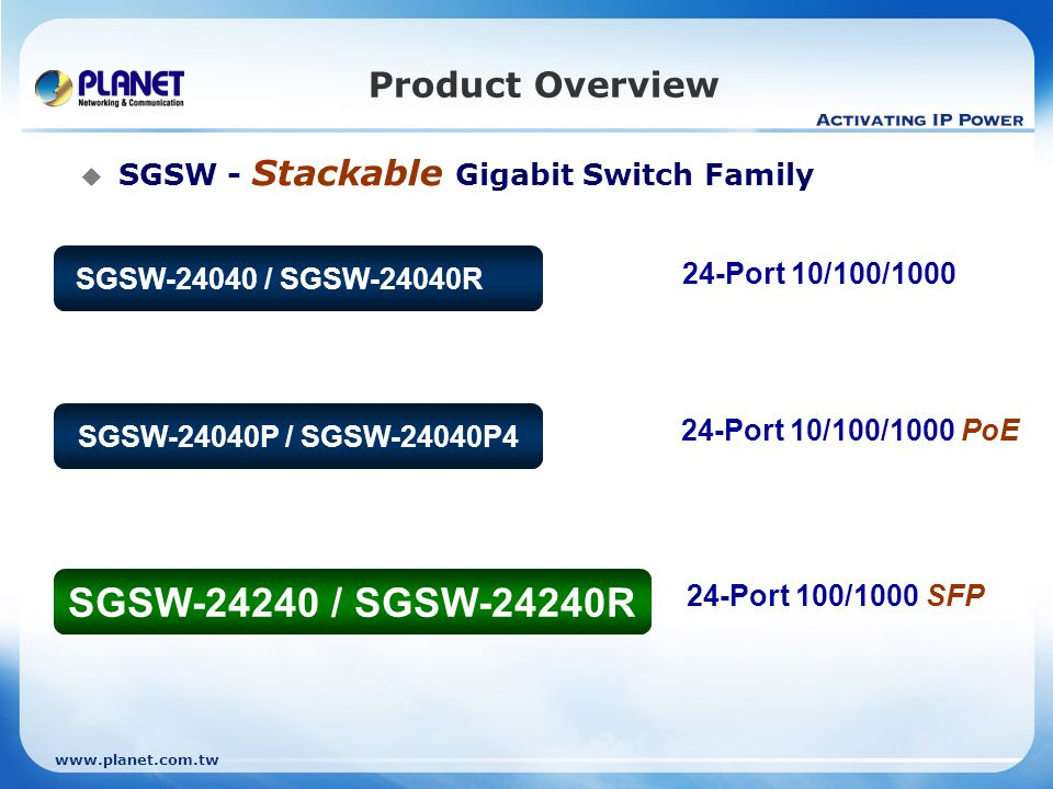 www.planet.com.tw Product Features  Quality of Service Traffic Classification 802.1p CoS IP TOS/DSCP/Precedence IP TCP/UDP port number Ingress Shaper and Egress Rate Limit per port bandwidth control Traffic-policing policies on the switch port  Multicast Supports IGMP Snooping v1, v2 and v3 Querier mode support