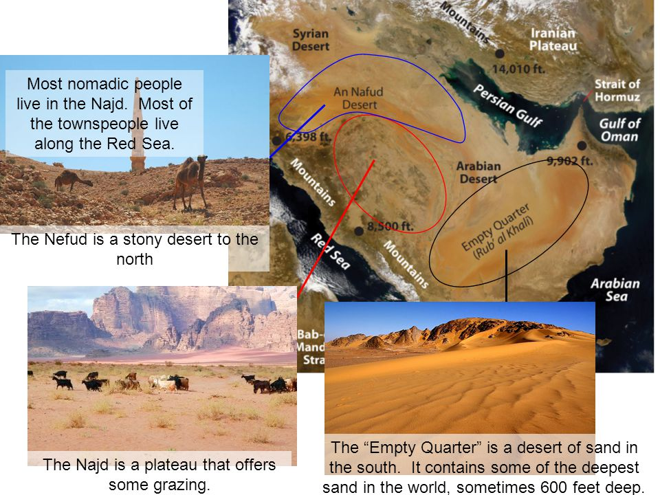 """Meanwhile, something was going on out in the Arabian Peninsula. The Najd is a plateau that offers some grazing. The """"Empty Quarter"""" is a desert of san"""