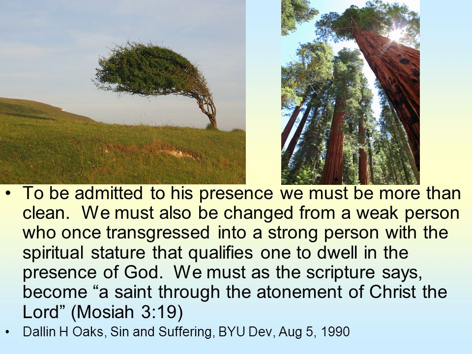 To be admitted to his presence we must be more than clean. We must also be changed from a weak person who once transgressed into a strong person with