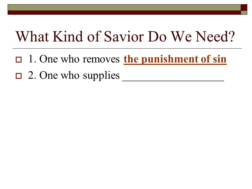 What Kind of Savior Do We Need.  1. One who removes the punishment of sin  2.