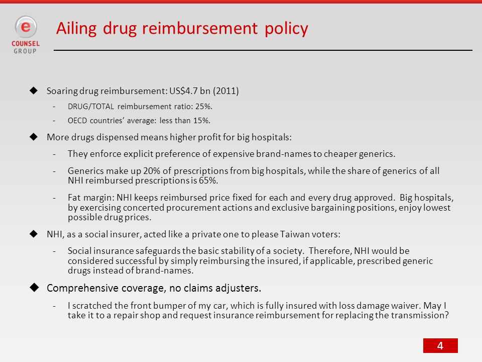4 Ailing drug reimbursement policy  Soaring drug reimbursement: US$4.7 bn (2011) -DRUG/TOTAL reimbursement ratio: 25%.